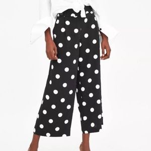 ZARA Wide Leg Polka Dot Pants